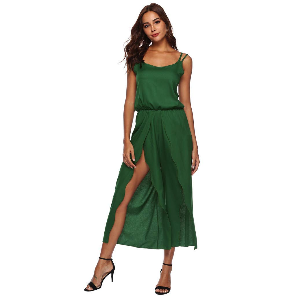 Ladies Fashion Elegant Jumpsuit Women Jumpsuits and Rompers Clubwear,Ladies Sleeveless Backless Loose Long Playsuits Green S