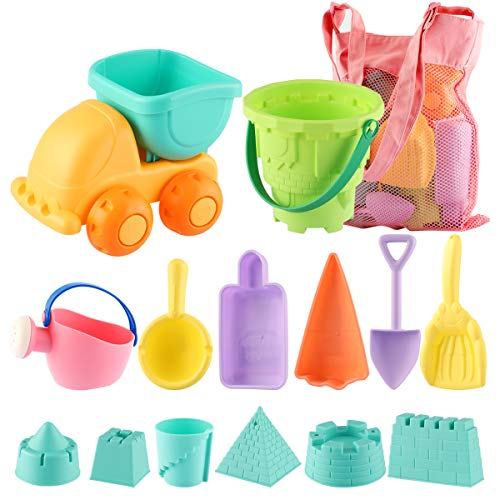 - MINGPINHUIUS Kids Beach Toys Toddlers Beach Sand Toy Set with Bucket Castle Molds and Mesh Bag Soft Plastic Material (14 pcs)