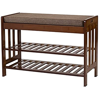 """Ollieroo Natural Bamboo Shoe Rack Entryway Shoe Storage Household Shelf Shoe Bench with Cushion, Size 28.1"""" x 11.8"""" x 19.7"""" (Amber) - UPGRADED: We have strengthen our quality control. Now you'll get shoe benches with non-slip cushion, upgrade workmanship (tenon structure) and nice material HIGH GRADE BAMBOO: Made of High Grade 100% Natural Bamboo with elegance safe lacquer finish, Environmental Friendly REMOVABLE SPONGE CUSHION : Comfortable sponge cushion with nice resilience. The cushion cover is demountable and washable - entryway-furniture-decor, entryway-laundry-room, benches - 51KW6UfFu2L. SS400  -"""