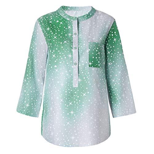 Londony✔Women's Button Down Loose Fit Casual Tops Tie Blouses Tee Shirts Cotton Summer T Shirt Irregular Hem Blouse Green ()