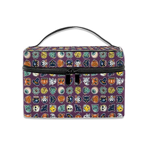 Halloween Hoopla Gaggle Of Ghouls Portable Travel Makeup Bag Cosmetic Organizer Tote Bag for Women Girls -