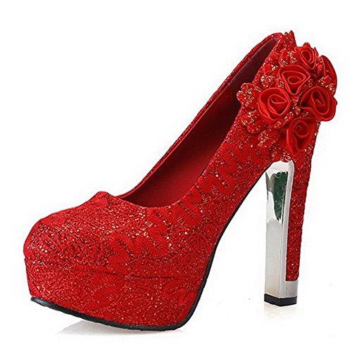 Material Sólido Rojo Tacón Alto Sin cordones Suave AalarDom De Mujer salón Fw6qcA
