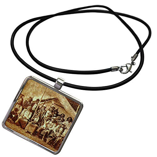 3dRose Scenes from The Past - Stereoview - Late 1800s Native American Indians Sioux Tribal Members - Necklace with Rectangle Pendant (ncl_300299_1) ()
