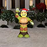 3.5 ft. LED Inflatable Michelangelo with Santa Hat
