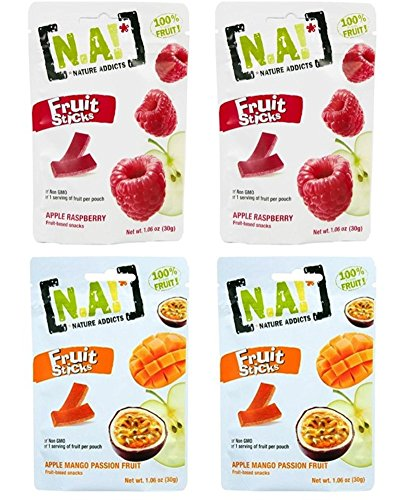Nature Addicts Fruit Stick Snacks 2 Flavor Variety Bundle, (2) Pouches Each: Apple Raspberry, and Apple Mango Passion Fruit - 1.06 Ounces ()