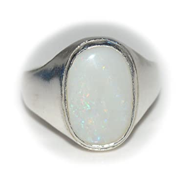 55Carat 5 CT Natural Gemstone Opal 925 Sterling Silver Ring For Men & Women iOlVKz
