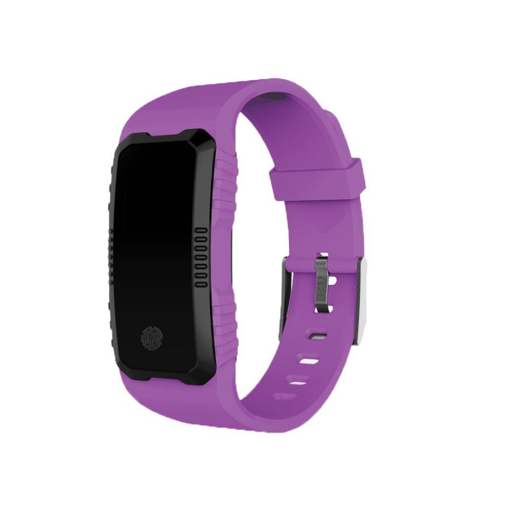 aritone Smart Watch、ハートレート血圧モニタスロット手首防水Bluetooth Smart Watch with Heart Rate Monitorメンズ、レディース、and Kids B07C2XHFHG パープル