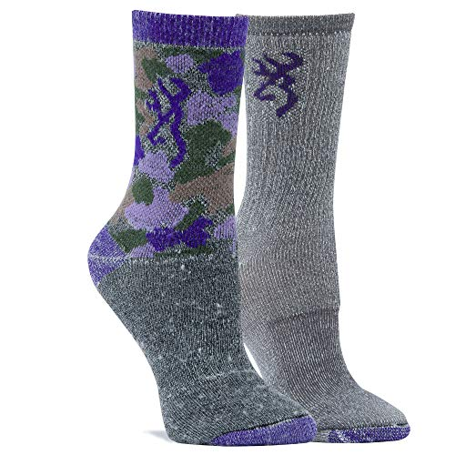 Browning Women's Everyday Wool Camo Socks | Purple Camo | Gray Marl Purple | Medium 2 Pack ()