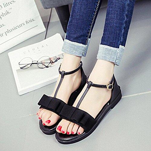 BZLine® Frauen Non-Slip Sandalen New Summer Flat mit Schnalle Strap Sandalen Schwarz