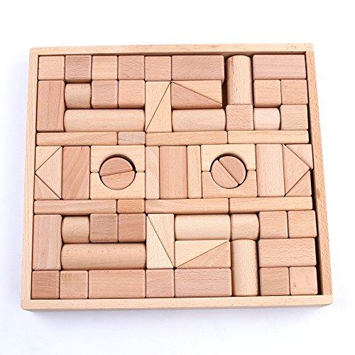 [Wooden Blocks - iPlay, iLearn wood block set Natural Wooden Stacking Cubes Blocks 72 PCS] (Group Of 3 Costume Ideas)