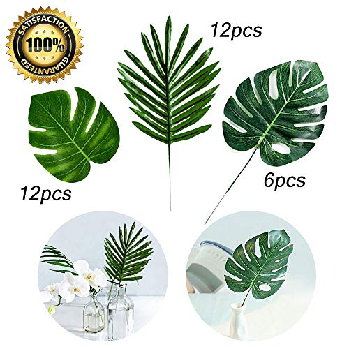 LASPERAL Artificial Palm Leaves 30 Pcs 3 Kinds Tropical Plant Faux Silk Fabric Monstera Leaves Home Wedding Decorations Baby Shower Hawaiian Luau Safari Jungle Beach Pink Flamingo Party Supplies Table -