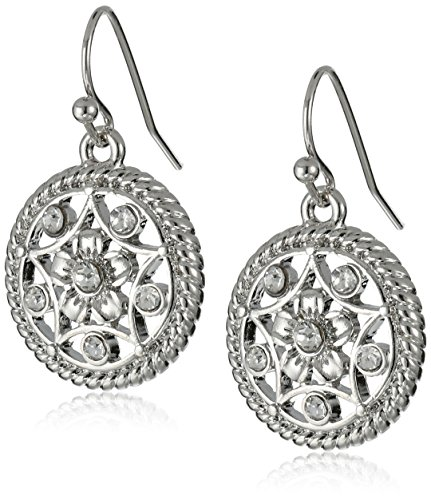 - 1928 Jewelry Silver-Tone Crystal Filigree Drop Earrings