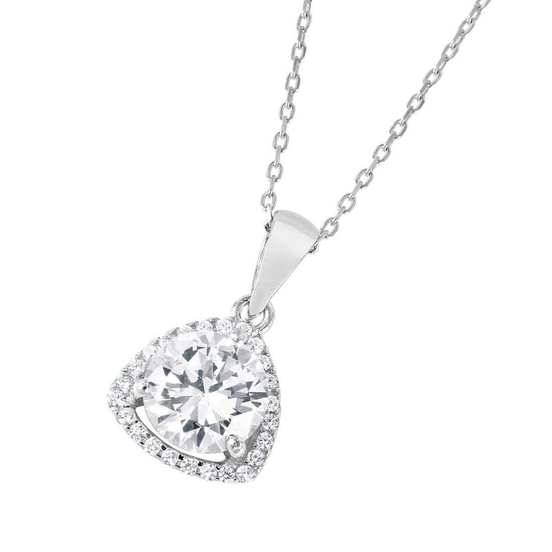 Jewelry Pilot Sterling Silver Prong Set Round Cubic Zirconia CZ Center Charm Pendant Necklace
