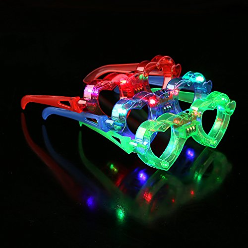 Fun Central M861 6 Pieces, Assorted LED Light Up Heart Eyeglasses, Light Up Glasses for Parties, Rave Party Heart Glasses by Fun Central