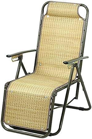 Tumbonas Jardin Silla plegable reclinable verano ocio al aire libre de largo adaptado silla para el parque de césped terraza balcón jardín con reposacabezas y bambú esteras, dos estilos (color, B),B