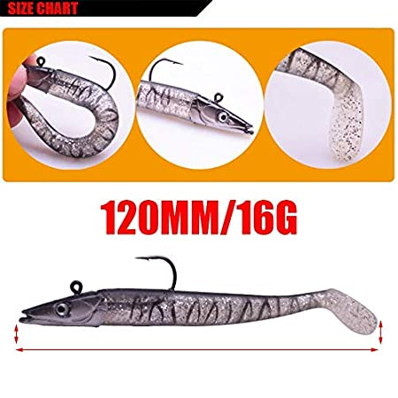 L-MEIQUN 1 Piezas Wobbler Jig se/ñuelos se/ñuelo Suave 12 cm 16 g Cebo Artificial Silicona se/ñuelo de Pesca lubina Carpa Pesca Plomo Cuchara Tackle WD-544