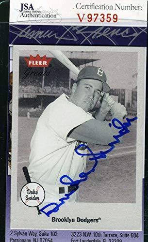 DUKE SNIDER 2001 Fleer Coa Hand Signed Authentic Autograph - JSA Certified - Baseball Slabbed Autographed Cards