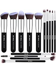 BS-MALL Makeup Brushes Premium 14 Pcs Synthetic Foundation Powder Concealers Eye Shadows Silver Black Makeup Brush Sets(Silver Black)