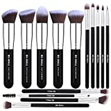 BS-MALL(TM) Makeup Brushes Premium 14 Pcs Synthetic Foundation Powder Concealers Eye Shadows Silver Black Makeup Brush Sets(Silver Black)