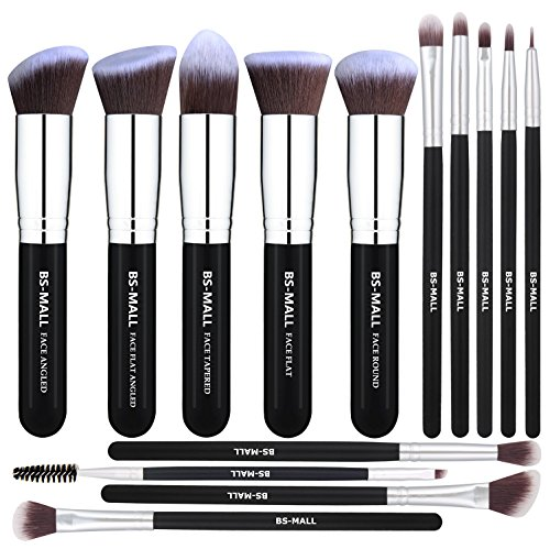 BS-MALL Makeup Brushes Premium 14 Pcs Synthetic Foundation Powder Concealers Eye Shadows Silver Black Makeup Brush Sets(Silver Black)]()