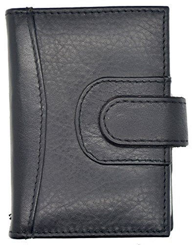 Card Case Genuine Black Mens Holder Leather Soft Tone Womens Two ID nW7W4wq8YH