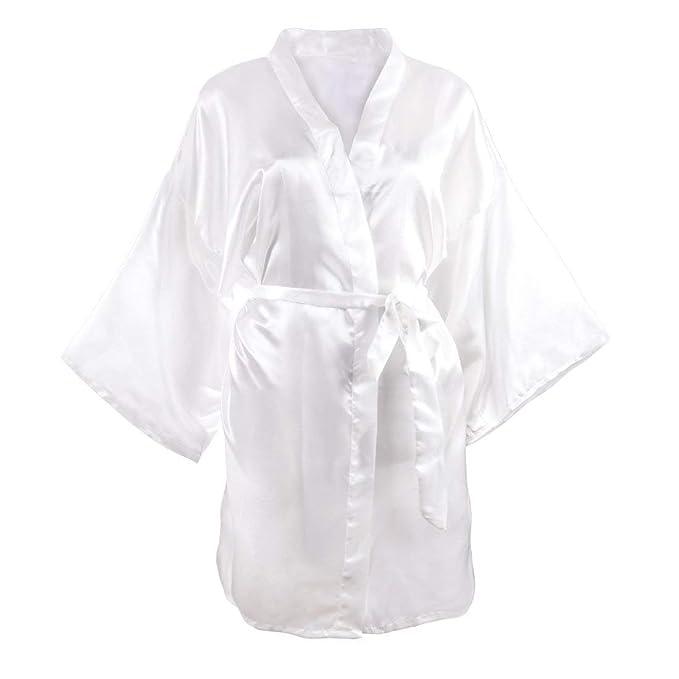 Damas Satinado Bata De Baño Kimono Albornoz Noche De Dormir Suelta Calentamiento Basic Funda Camisón para