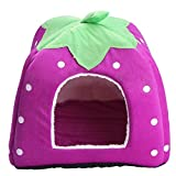 Pet House Supplies High Quality Dog House Strawberry And Leopard Print Cat Rabbit Bed House Kennel Doggy Warm Cushion Basket (M, purple)