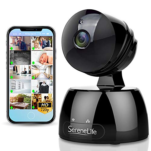 SereneLife Indoor Wireless IP Camera – HD 720p Network Security Surveillance Home Monitoring w/Motion Detection, Night Vision, PTZ, 2 Way Audio, iPhone Android Mobile App PC WiFi Access – IPCAMHD30BK
