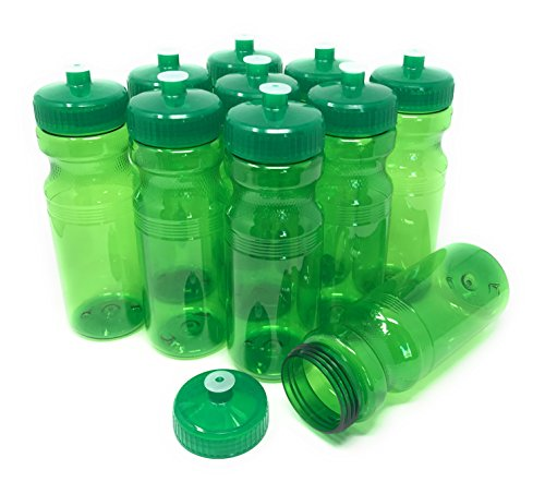 (CSBD Blank 24 oz Sports and Fitness Water Bottles, BPA Free, PET Plastic, Made in USA, Bulk (Green, 10 Pack))