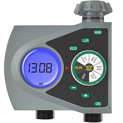 Controller Hose (Gideon Dual-valve Hose Water Timer Sprinkler Timer Irrigation Controller System – Battery Operated; Easy Hose Connection with Simple to Use Digital System – For Garden, Flowers and Lawn)