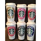 Personalized 16 ounce Starbucks Cups with Lids