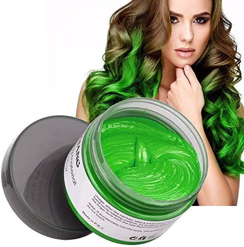 MOFAJANG Natural Hair Wax Color Styling Cream Mud, Adofect Natural Hairstyle Dye Pomade, Temporary Hairstyle Cream 4.23 oz, Hairstyle Wax for Men and Women, Green