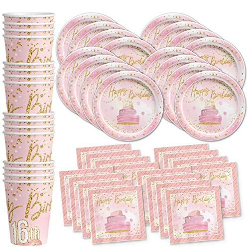 Sweet 16 Pink and Gold Birthday Party Supplies Set Plates Napkins Cups Tableware Kit for 16 for $<!--$25.99-->