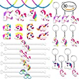 Sundell 30 Pack in 4 Style Unicorn Party Supplies, Unicorn Bracelet, Unicorn Ring, Unicorn Necklace, Unicorn Key Chain, Kids Children Girls Birthday Gift, Party Bag, Party Favors