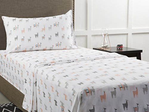 Mainstays Back to School 180 Thread Count Sheet Set, Fun & Modern! Your Favorites- Florals, Llama, Pineapples, Cactuses, Geometric Triangles! Flat, Fitted, & Pillowcase Set! (Queen, Llama)