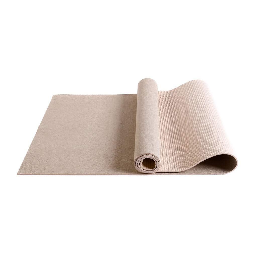 Beige ZJX-F Tapis De Yoga en Lin, 5mm Couverture De Fitness Résistant à l'usure Antidérapant Pilates Massage Portable MÂle Femelle 183cm × 61cm