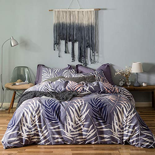 SUSYBAO 3 Pieces Duvet Cover Set 100% Natural Cotton King Size Purple White Tropical Palm Tree Leaves Bedding with Zipper Ties 1 Duvet Cover 2 Pillowcases Luxury Quality Soft Durable Comfortable (White Duvet And Cover Purple)