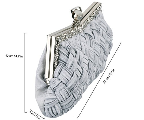 Clutch Purse Grey Wedding Evening Woven Bag Tailor Women Party Classic Charming XUOgx