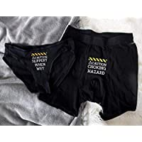 Couples Underwear Matching Set Funny Couple Underwear Choking Hazard Slippery When Wet His and Hers Gift