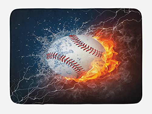 Lunarable Sports Bath Mat, Baseball Ball on Fire and Water Flame Splashing Thunder Creative Art, Plush Bathroom Decor Mat with Non Slip Backing, 29.5 W X 17.5 W Inches, Dark Blue Orange Burgundy