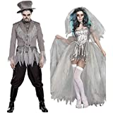 BlueSpace Halloweeen Costumes for Men and Women Vampire Cosplay Suit Set for Couples Pretend Play Dress Up Clothes for Adults Party Night