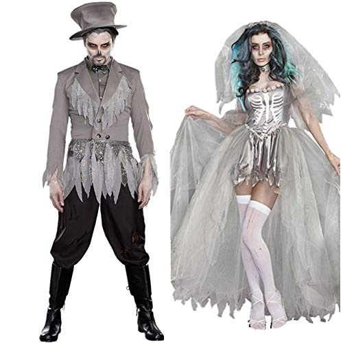 BlueSpace Halloweeen Costumes for Men and Women Vampire Cosplay Suit Set for Couples Pretend Play Dress Up Clothes for Adults Party Night -