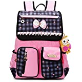 Comfysail Lovely Bow PU Leather Elementary School Student Backpack - Best Gift for 1-3 Grade Girls (Rose+Blue)
