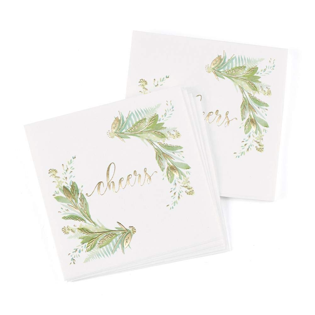 Hortense B. Hewitt Greenery Beverage Napkins with Gold Foil Accents - 4 3/4 x 4 3/4in. - 100 Pack