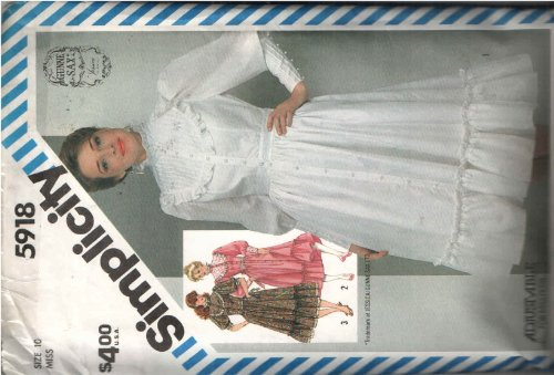 Simplicity 5918 Vintage Sewing Pattern for Victorian Gunne Sax Dress Options Pin Tucked Yoke Stand Collar Ruffle Trims. Button Loop Long Cuffed Leg O Mutton Sleeves Inset Waistband Back Tie Belt, Hem Flounce, and Princess Seamed Bodice.