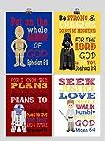 Star Wars Set of 4 - Christian Nursery Decor Wall Art Print - Luke Skywalker, Darth Vader, R2D2, C-3PO - Bible Verse - Multiple Sizes