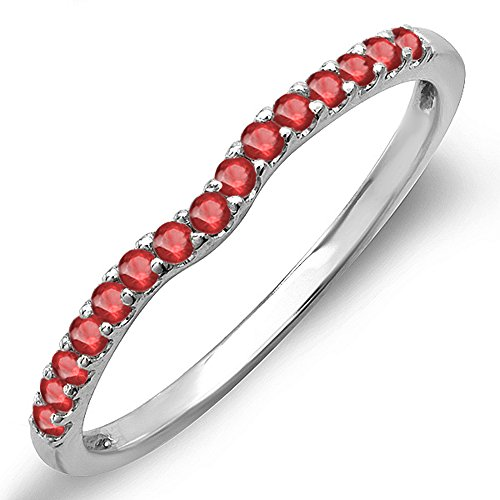 Gold Genuine Ruby Ring - 0.25 Carat (ctw) 14K White Gold Genuine Ruby Anniversary Wedding Ring Matching Band 1/4 CT