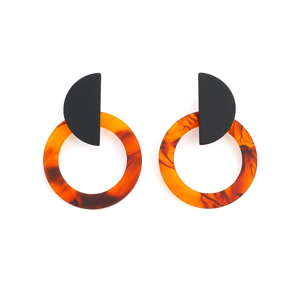 Tortoise shell Geometric Acrylic Stud Earrings with Swirl In Round And Semi Round