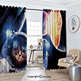 Extra Long and Wide Blackout Curtains,Kitten with Space Suit Planets Nebula Supernova Eclipse Artwork Thermal Insulated Premium Room Divider Large Size 2 Panel Set,108'W by 99' L Each,White Orange and