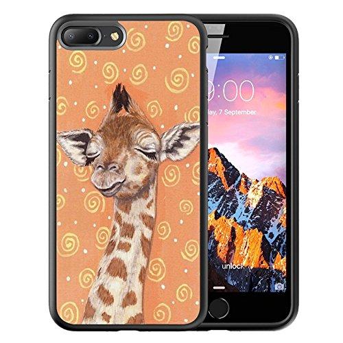 iPhone 7 Black Case, Customized Black Soft Rubber TPU Case For iPhone 7 Case Black Giraffe in the dream (Giraffe Phone Jack)